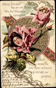 Litho Und wenn du eine Rose schaust, so sag ich lass sie grüßen