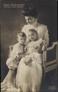 Ak Kronprinzessin Cecilie von Preußen, Wilhelm und Louis Ferdinand, Liersch 2125