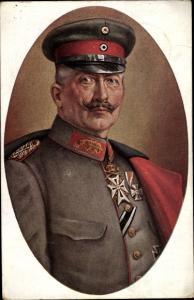 Künstler Passepartout Ak Grabend, R., Kaiser Wilhelm II. in Uniform, Mantel