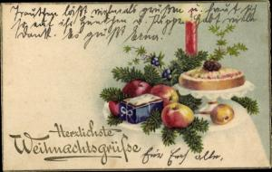 Ak Glückwunsch Weihnachten, Kerze, Äpfel, Lebkuchen