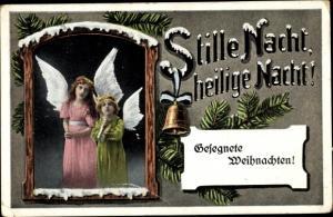 Ak Glückwunsch Weihnachten, Zwei Engel, Glocke, Tannenzweige, Stille Nacht