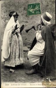 Ak Scenes et Types, Musicien et Danseuse du Sud, Maghreb