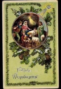 Präge Litho Glückwunsch Weihnachten, Heilige Familie, Stall, Maria, Josef, Christuskind