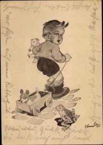 Künstler Ak Junge, Hund, Frosch, Teddy