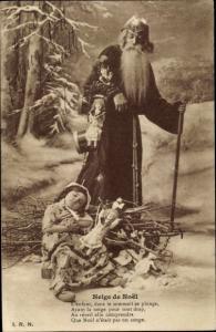 Ak Glückwunsch Weihnachten, Weihnachtsmann, schlafendes Mädchen, Puppen