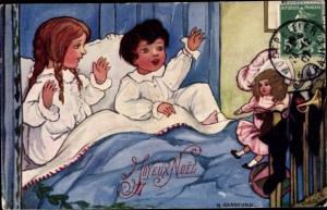 Künstler Ak Sandford, H., Frohe Weihnachten, Kinder bei der Bescherung im Bett, Puppe, Tuck 8249