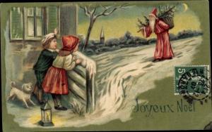 Präge Litho Frohe Weihnachten, Weihnachtsmann bringt Geschenke, Kinder, Hund