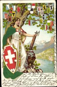 Präge Wappen Litho Helvetia Allegorie mit Schweizer Wappenschild, Kantonswappen