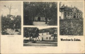 Ak Werchow Calau Landkreis Oberspreewald Lausitz, Kreuzfichte, Pohle's Restaurant, Schule