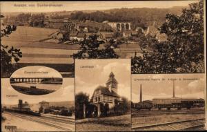 Ak Guntershausen Baunatal im Landkreis Kassel, Chemische Fabrik, Panorama, Landhaus, Bahnhof