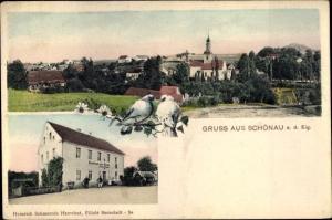 Ak Schönau Berzdorf auf dem Eigen, Panorama vom Ort, Gasthaus zur Krone