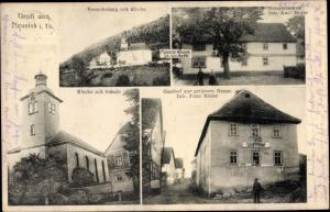Ak Neusiß Plaue im Ilm Kreis Thüringen, Verontaberg, Kirche, Materialwaren, Kirche, Schule, Gasthof