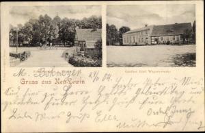 Ak Neulewin Landkreis Märkisch Oderland, Friedenseiche, Kirche, Gasthof Emil Wegnerowsky