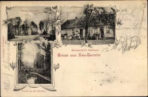 Ak Neubarnim Letschin im Oderbruch, Neue Chaussee, Kleinmichel's Gasthaus, Brückenpartie