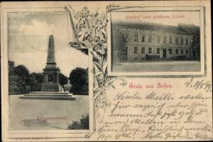 Ak Zossen in Brandenburg, Kriegerdenkmal, Gasthof zum goldenen Löwen