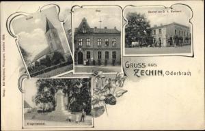 Ak Zechin Märkisch Oderland, Post, Kirche, Gasthof Markwart, Kriegerdenkmal