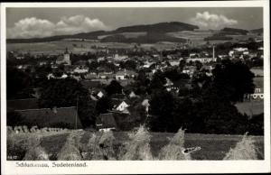 Ak Šluknov Schluckenau Region Aussig, Panorama vom Ort