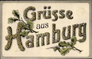 Ak Hamburg, Schriftzug Grüsse, Eichenblätter