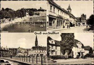 Ak Staßfurt Sachsen Anhalt, Strandsolbad, Lehrerbildungsinstitut, Karl Marx Straße