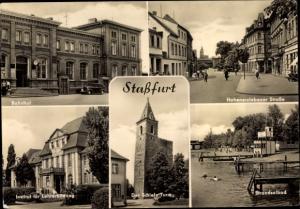 Ak Staßfurt Sachsen Anhalt, Bahnhof, Schiefer Turm, Lehrerbildungsinstitut, Strandsolbad