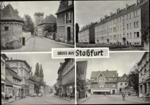Ak Staßfurt Sachsen Anhalt, Turmgasse, Karl Marx Straße, Eigene Scholle