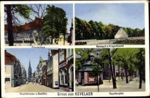 Ak Kevelaer am Niederrhein, Priesterhaus, Marienpark, Kriegerehrenmal, Kapellenplatz, Basilika