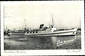 Ak Norderney in Ostfriesland, Dampfer im Hafen