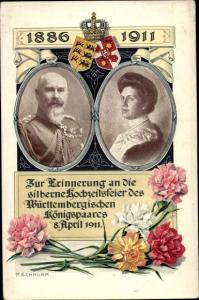 Passepartout Ak Silberhochzeit König Wilhelm II von Württemberg, Charlotte zu Schaumburg Lippe