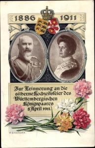 Passepartout Künstler Ak Schnorr, P., König Wilhelm II von Württemberg, Silberhochzeit, Charlotte