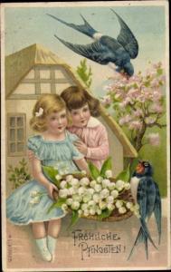 Litho Glückwunsch Pfingsten, Schwalben, Junge, Mädchen, Maiglöckchen