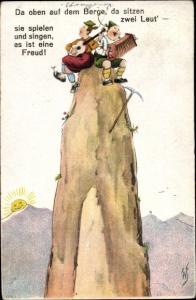 Künstler Ak Scheuermann, Willi, Da oben auf dem Berge, Männer, Bergsteiger, Gipfel
