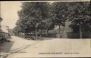 Ak Champagne sur Seine Seine et Marne, Avenue de la Gare