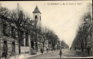 Ak Le Bourget Seine Saint Denis, Rue de Flandre, L'Eglise