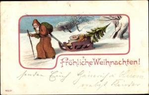 Ak Frohe Weihnachten, Weihnachtsmann mit Schlitten, Geschenke, Tannenbaum