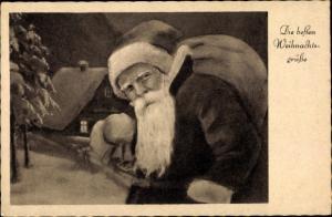 Ak Frohe Weihnachten, Weihnachtsmann mit Geschenkesack, Haus im Schnee