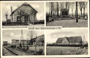 Ak Sparrieshoop in Holstein, Bahnhof, Schule, Bäckerei, Kolonialwarenhandlung