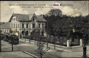 Ak Langenhorn in Nordfriesland, Timmermanns Etablissement, Straßenbahn Endstation