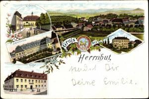 Litho Herrnhut in der Oberlausitz, Kirchensaal, Schwesternhaus, Mädchenanstalt