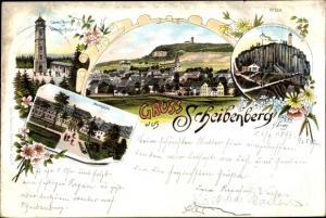 Litho Scheibenberg Sachsen, Carolaturm, Orgelpfeifen, Marktplatz