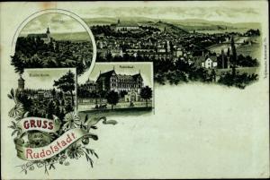 Litho Rudolstadt in Thüringen, Schloss, Marienturm, Rudolstadt