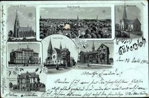 Litho Gütersloh in Westfalen, Neue evang. Kirche, Kath. Kirche, Gymnasium, Lehrerseminar