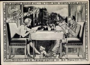 Künstler Ak Hebisch, Hamburg St Pauli, Drahtlose Telegraphie