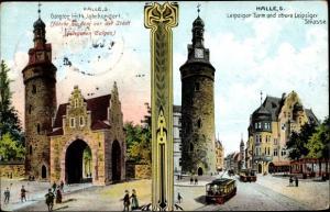 Ak Halle an der Saale, Historisches Bild der Stadt, Galgtor, Leipziger Tor und Straße