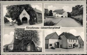 Ak Fürstenau Höxter an der Weser, Ehrenmal, Schule, Kirche, Geschäft Fritz Jacke