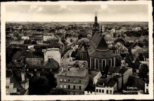 Ak Cottbus Brandenburg, Totalansicht der Stadt, Kirche