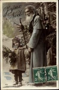 Ak Frohe Weihnachten, Weihnachtsmann, Tannenbaum, Kind