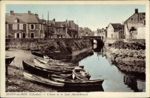 Ak Isigny sur Mer Calvados, L'Aure et la Quai Alfred Rossel