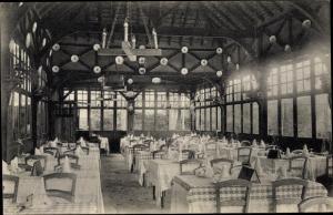 Ak Lyons la Forêt Eure, La Licorne, vue intérieure, tables a manger