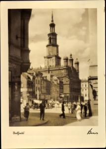 Ak Poznań Posen, Straßenpartie, Rathaus, Das schöne Posen