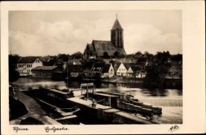 Ak Rheine in Westfalen, Emspartie, Wehr, Stadtbild